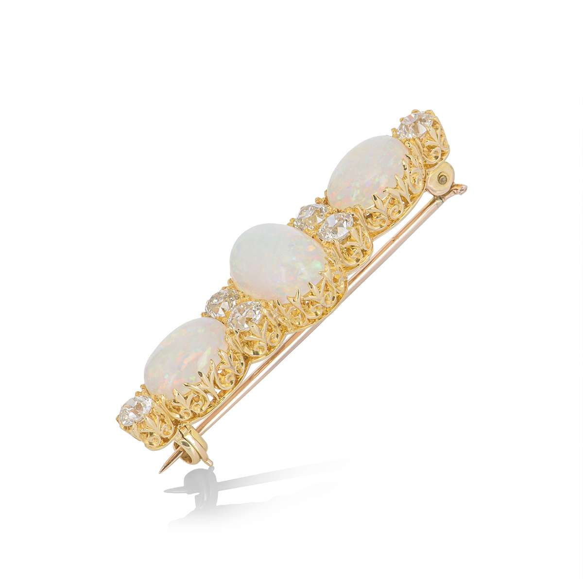 Yellow Gold Antique Opal and Diamond Brooch